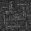 Biotech seamless pattern word cloud illustration Royalty Free Stock Photos