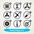Biotechnology icons with concept medicine Stock Photography