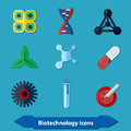 Biotechnology icons flat with signs in style Royalty Free Stock Images