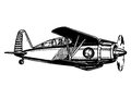 Biplane aircraft in flight vintage style vector illustration Stock Images