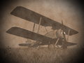 Biplane on the grass d render vintage image of a standing with flowers Royalty Free Stock Images