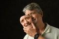 Bipolar disorder depressed man with mask Royalty Free Stock Photo