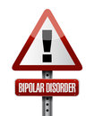Bipolar disorder warning road sign illustration design over white Royalty Free Stock Images