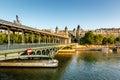 Bir-Hakeim Bridge and Seine River in the Morning, Paris Royalty Free Stock Photo