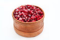 Birch-bark box with cranberries Royalty Free Stock Photo