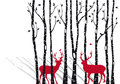 Birch trees with christmas deers, vector Royalty Free Stock Photo