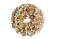 Birch wood wreath on white background made with real natural isolated Royalty Free Stock Images