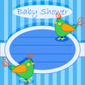 Bird baby shower invitation boy cute green little birds card over stripes Royalty Free Stock Photos