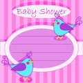 Bird baby shower invitation girl cute blue little birds card over pink stripes Stock Photos