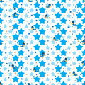 Bird blue cute star fly seamless pattern Royalty Free Stock Photo
