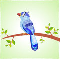 Bird blue illustration funny and cute cartoon Stock Image