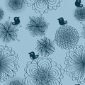 Bird Blue Silence Seamless Pattern Royalty Free Stock Photo