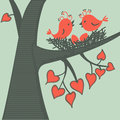 Bird on a branch in love vector illustration Royalty Free Stock Photos