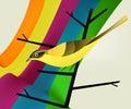 Bird on branch and rainbow Royalty Free Stock Photo