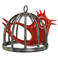 Bird in a cage illustration of red silver Royalty Free Stock Image