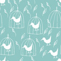 Bird and cage illustration of seamless pattern background Stock Images