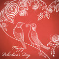 Bird cage st valentines day greeting card with birds Stock Photo