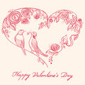 Bird cage st valentines day greeting card with birds Stock Image