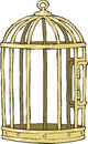Bird cage on a white background Royalty Free Stock Image