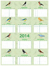 Bird calendar with different european common birds Stock Images
