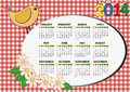 Bird calendar and flower for children Stock Photography