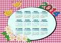 Bird calendar and flower for children in italian Royalty Free Stock Photos