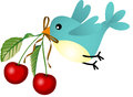 Bird with cherries scalable vectorial image representing a isolated on white Royalty Free Stock Image