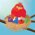 Bird with chicks in the nest. Vector illustration.