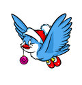Bird christmas gift ball cartoon isolated illustration Royalty Free Stock Image