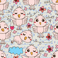 Bird cute open wing say hello seamless pattern illustration abstract natural flower love background graphic Royalty Free Stock Photo
