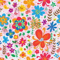 Bird dragonfly butterfly ladybug flower seamless pattern