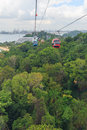 Bird eye view of cable car over green park Royalty Free Stock Photo
