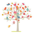 Bird family on a tree Royalty Free Stock Photo
