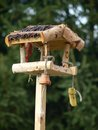 Bird feeder a wooden for birds Royalty Free Stock Image