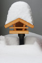 Bird feeders with a hat of snow Royalty Free Stock Photo