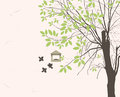 Bird feeders spring landscape with tree young leaves and Stock Photography