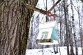 Bird feeders in winter park Stock Photos