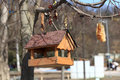 Bird feeders the wooden in the spring park Royalty Free Stock Image