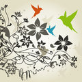 Bird flies round flower vector illustration Stock Photography