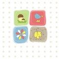 Bird, flower,leaf,mushroom . Vector illustration Royalty Free Stock Photo