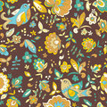 Bird and flower ornament pattern. Seamless vector floral texture Royalty Free Stock Photo
