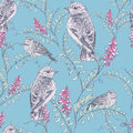 Bird and flower pattern Royalty Free Stock Photo