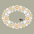 Bird and flower Vector Illustration Royalty Free Stock Photo