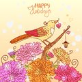Bird and flowers amazing illustration of a beautiful Royalty Free Stock Photo