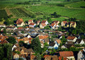 Bird-fly overview to small village in Alsace Royalty Free Stock Photo