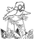 Bird flying over trees coloring page