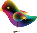 Bird with gradient mesh yellow black red violet green blue vector illustration Royalty Free Stock Images