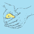 Bird in a hand holding carefully the human hands sketch illustration and vector Royalty Free Stock Photo