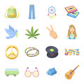 Bird, hemp, leaf and other hippy equipment. Hippy set collection icons in cartoon style vector symbol stock illustration