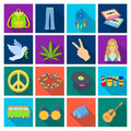 Bird, hemp, leaf and other hippy equipment. Hippy set collection icons in flat style vector symbol stock illustration